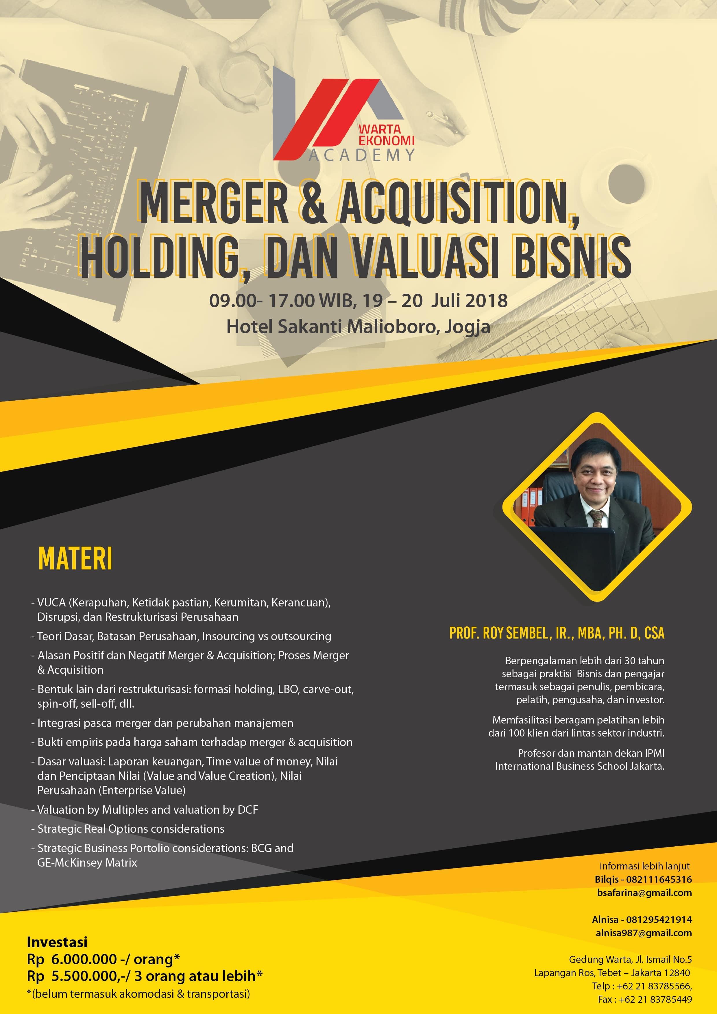 Merger & Acquisition, Holding, dan Valuasi Bisnis